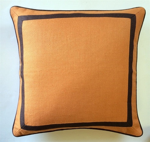 Orange Slubby Linen with Mitered Border - GDH | The decorators department Store