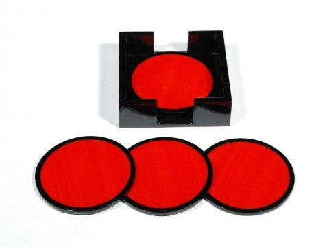 Red Tulipwood Round Coasters-Set of 4 - GDH | The decorators department Store