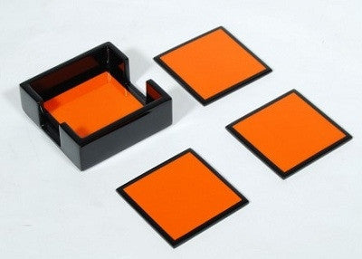 Orange and Black Lacquered Coasters - GDH | The decorators department Store
