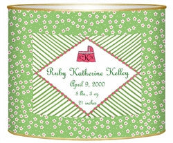 Birth Announcement Personalized Baby Bin | Green - GDH | The decorators department Store