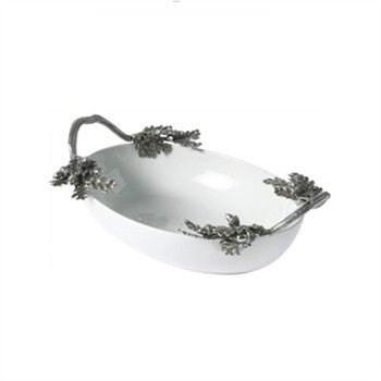 Acorn & Oak Leaf Porcelain and Pewter Serving Bowl - GDH | The decorators department Store