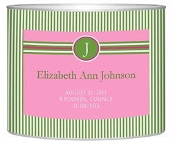 Birth Announcement Personalized Baby Bin| Green Pink - GDH | The decorators department Store