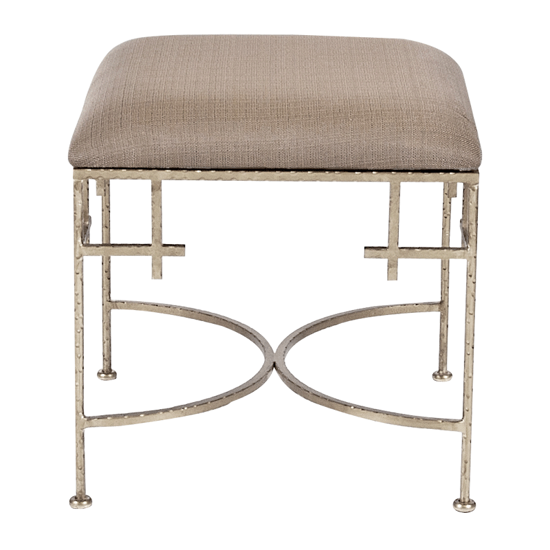 Lolita Square Stool with Linen Top-Silver Leaf - GDH | The decorators department Store