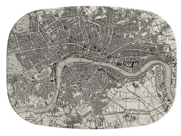 Antique London Map Glass Cutting Board