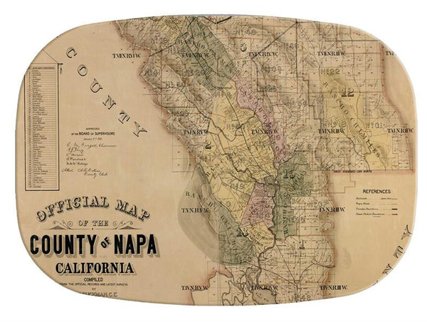 Napa County Antique Map Glass Cutting Board