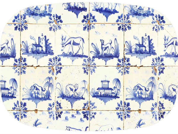 Delft Tiles Glass Cutting Board