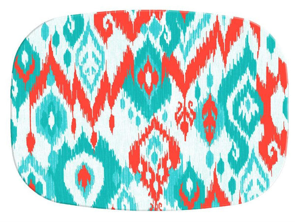 Coral and Turquoise Ikat Glass Cutting Board