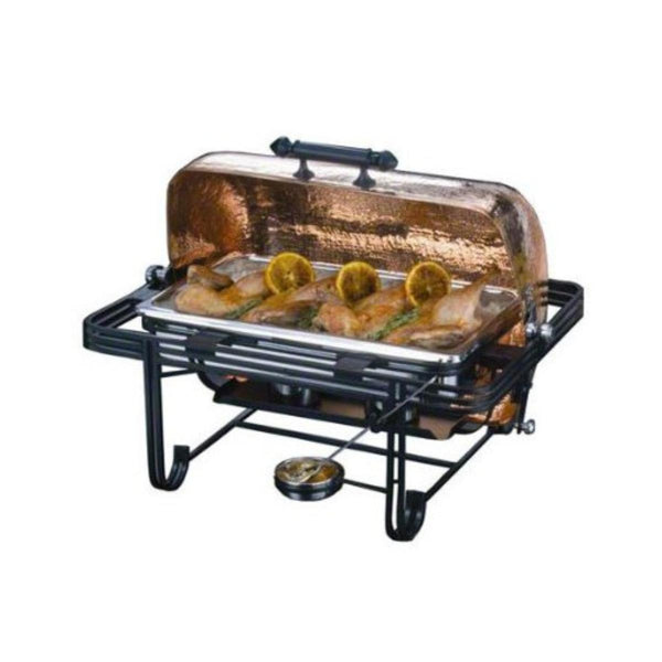 8 Qt. Rectangular Roll Top Chafer with Hammered Copper Cover - GDH | The decorators department Store