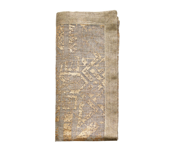 DISTRESSED NAPKIN IN NATURAL & GOLD S/4 - GDH | The decorators department Store - 1