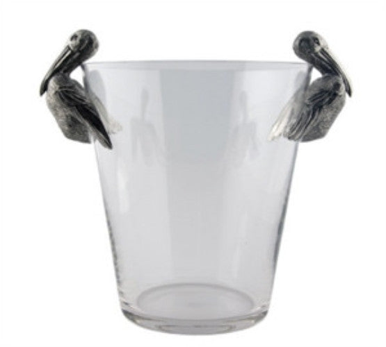 Pelican Pewter Handle Glass Ice Bucket - GDH | The decorators department Store
