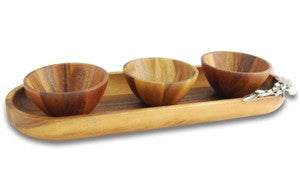 Olive Baguette Tray with Wood Bowls - GDH | The decorators department Store