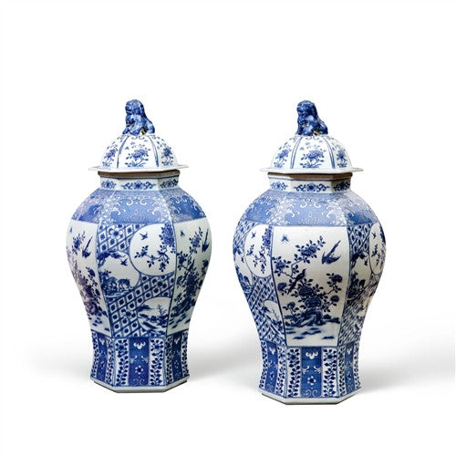 Palace 6-Sided Temple Jar | Blue and White - GDH | The decorators department Store