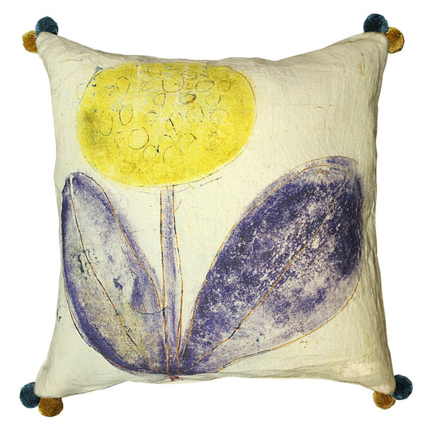 Blue- Yellow Flower Pillow - GDH | The decorators department Store