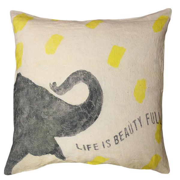 Yellow- Smart Elephant Pillow - GDH | The decorators department Store