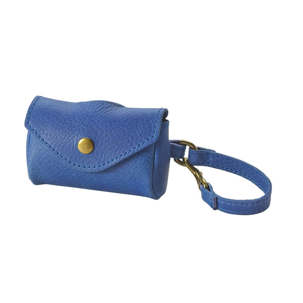 Dog Waste Bag Holder Italian Leather | Blue