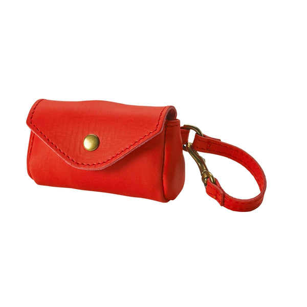 Dog Waste Bag Holder Italian Leather | Red
