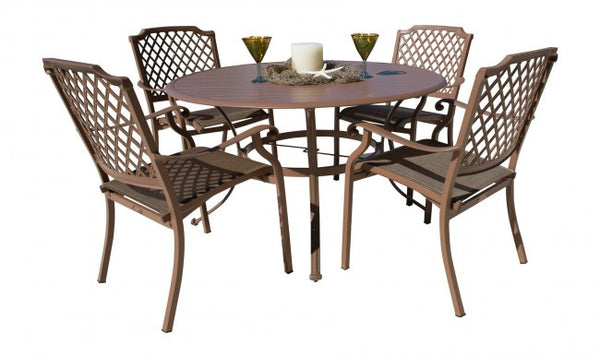 Island Breeze 5 PC Cast Aluminum Slatted Dining Set