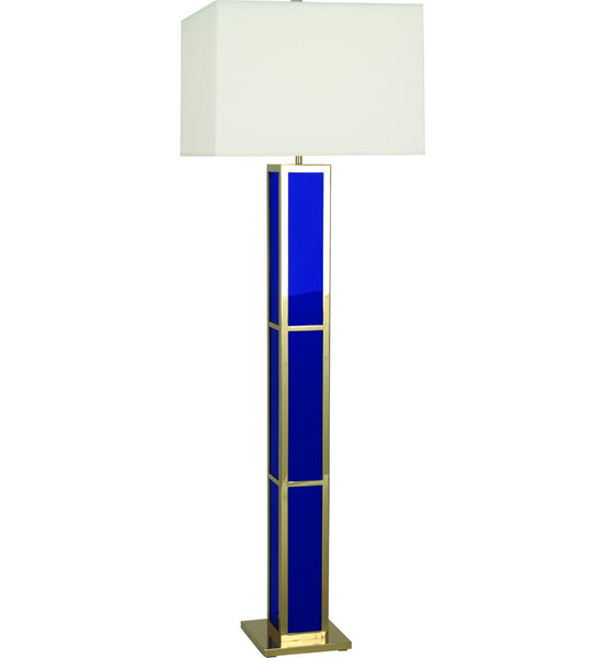 Barcelona Black Opaque Acrylic & Polished Brass Floor Lamp | Blue
