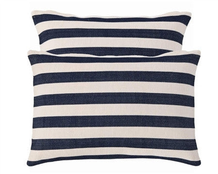 Navy Trimaran Stripe Indoor Outdoor Pillow - GDH | The decorators department Store