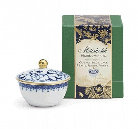 Cobalt Blue Lace Heirluminare Fragrance Candle  Petite Round - GDH | The decorators department Store