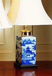 Mottahedeh Blue Canton Small Tea Jar Lamp - GDH | The decorators department Store