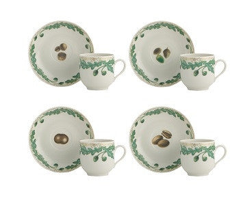 Mottahedeh Nutleaf Cup and Saucer | Set of 4 - GDH | The decorators department Store