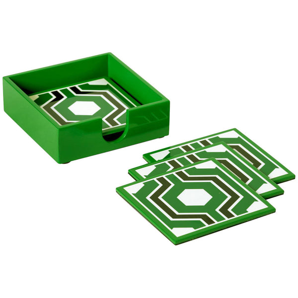 Sasoon Coasters With Coaster Holder | Green - GDH | The decorators department Store