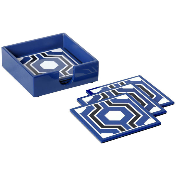 Sasoon Coasters With Coaster Holder | Blue - GDH | The decorators department Store