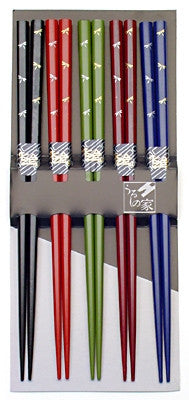 Dragonfly Japanese Chopstick Gift Set in Dark Colors, 5 Pairs - GDH | The decorators department Store