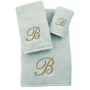 soft-twist-three-piece-monogrammed-towel-set-aqua - GDH | The decorators department Store