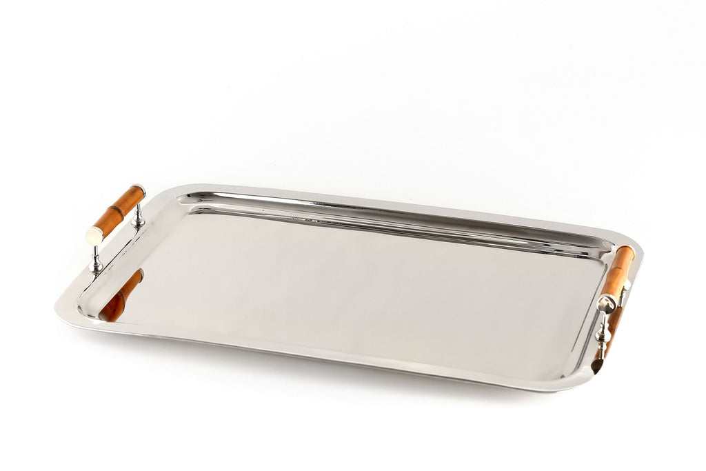 Rectangular Nickel Tray with Bamboo Handles