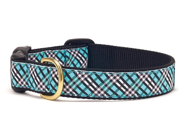 Aqua Plaid Dog Collar - GDH | The decorators department Store