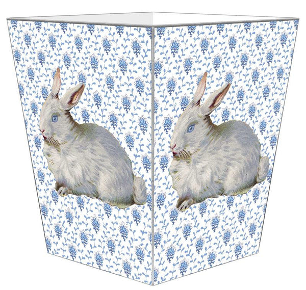 Bunny on Blue Provencial Pattern Wastepaper Basket