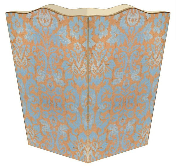 Copper and Blue Damask Wastepaper Basket - GDH | The decorators department Store