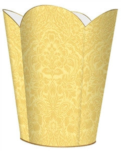 Buttercup Damask Wastebasket - GDH | The decorators department Store