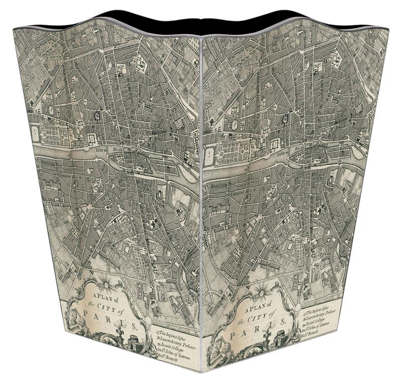 Paris Antique Map Wastebasket - GDH | The decorators department Store