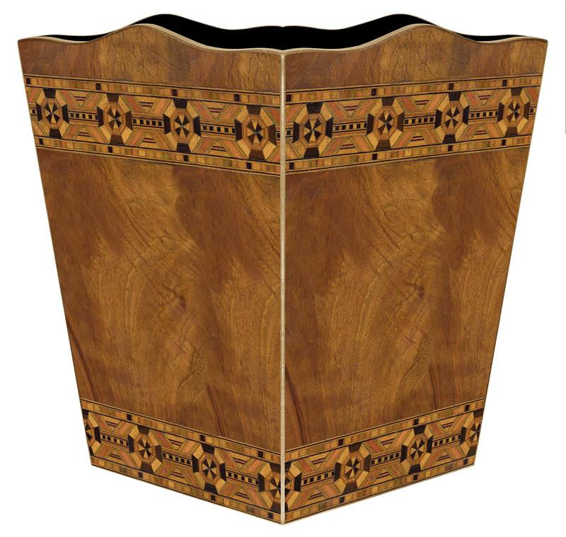 Inlaid Wood Wastebasket - GDH | The decorators department Store