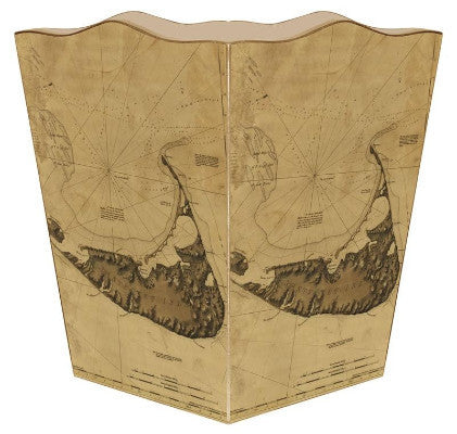 Antique Nantucket Island Map Wastebasket - GDH | The decorators department Store