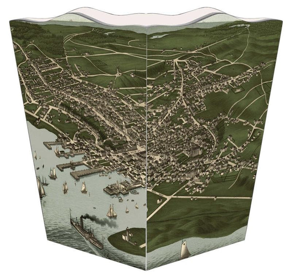Antique Nantucket Town Map Wastebasket - GDH | The decorators department Store