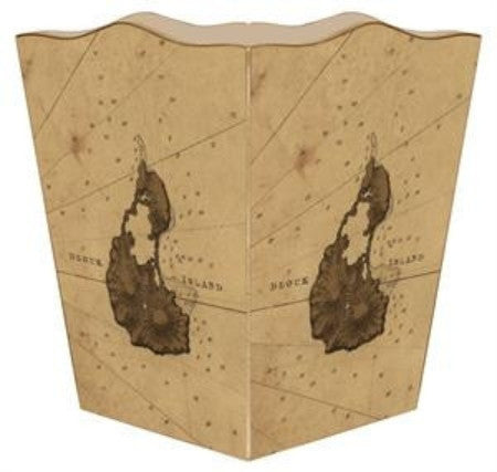 Antique Block Island Map Wastebasket - GDH | The decorators department Store