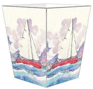 Bill Kelley Watercolor  Wastebasket - GDH | The decorators department Store
