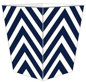 Navy Chevron Wastebasket - GDH | The decorators department Store