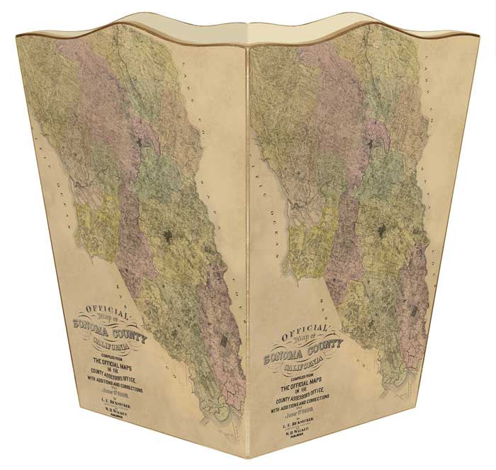 Sonoma County Antique Map Wastebasket - GDH | The decorators department Store