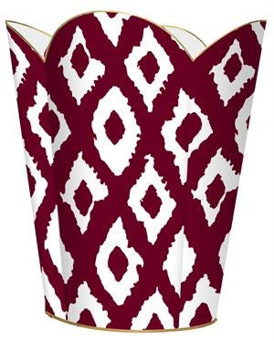 Cranberry Ikat  Wastebasket - GDH | The decorators department Store