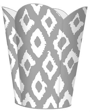 Silver Ikat  Wastebasket - GDH | The decorators department Store