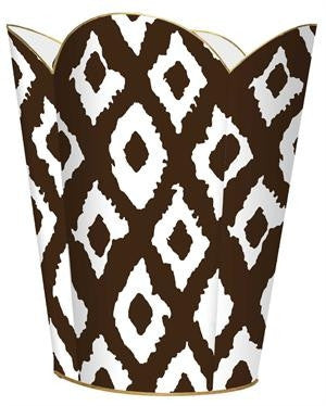 Brown Ikat  Wastebasket - GDH | The decorators department Store