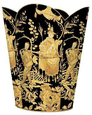 Black and Gold Asian Toile Wastbasket - GDH | The decorators department Store