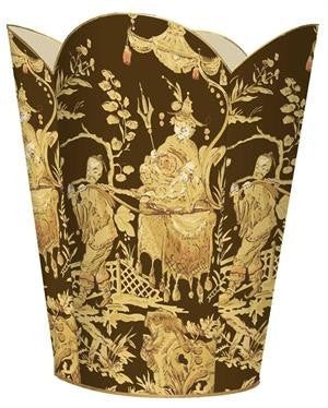 Brown and Gold Asian Toile Wastbasket - GDH | The decorators department Store