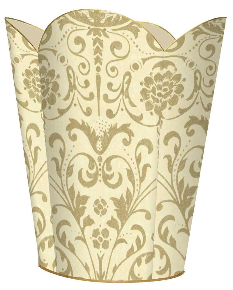 Creme and Gold Damask Wastebasket - GDH | The decorators department Store