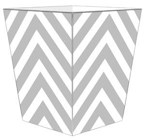 Grey Chevron Grande Personalized Wastepaper Basket - GDH | The decorators department Store